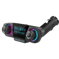 Quelima BT06 Double Head Car Bluetooth MP3 Double Knob Cool Light Big Screen Display Voltage Call Sign