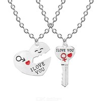2Pcs/Set Couple Necklace For Women Men I Love You Heart Pendant Paired Key Lock Rope Necklace