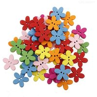 100PCS Multicolored Flower Button Novelty Wood Button For Sewing Crafting Scrapbook