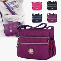 Zipper Messenger Bags Casual Nylon Handbag Single Shoulder Bag With Adjustable Strap For Women