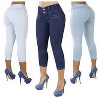 Skinny Jeans Low Waist Butt Lifting Cropped Trousers For Women