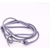 Fashion Navy Wind Sailing Pirates Anchor Woven Bracelet