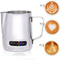 Milk Frothing Jug With Built-In Thermometer, Stainless Steel Creamer Frothing Pitcher 20oz600ml Espresso Coffee Latte Pot