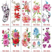 10 Sheets Different Flowers Temporary Tattoo, Gorgeous Colorful Waterproof Art Fake Tattoos Sticker Rose Peony For Womens Girls