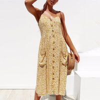 Women 100 Cotton Summer Dress 2019 Sexy Straps Bohemian Floral Tunic Beach Dress Sundress Pocket Red Dresses Female