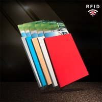Aluminum Alloy Wallet Automatic Pop-up Credit Card Holder Elastic Cloth Coin Purse Anti-degaussing Business Card Case