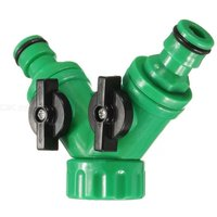Three-Way Ball Valve Quick Connector Hose Pipe Adapter, Water Irrigation 2 Way Y Tap Fitting Garden Pipe Splitter