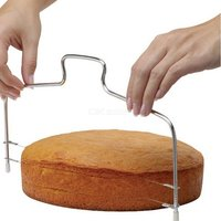Double Line Adjustable Metal Cake Cutter, Stainless Steel Cake Pastry Slicer Kitchen Bakeware Baking Tool