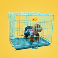 Folding Pet Wire Cage Double Door Metal Dog Crate For Small Dogs Puppy Cat Rabbit