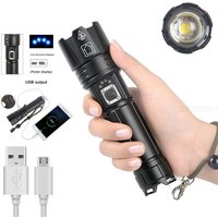 P70 Ultra-Bright LED Flashlight 1800 LM USB Rechargeable Torch Light 5 Modes IPX4 Water Resistance