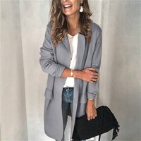 Autumn Winter Casual Female Long Sleeve Coat Solid Color Womens Clothing