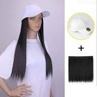 Hat Wig Matte Synthetic Long Straight Hair With Detachable White Baseball Cap For Women