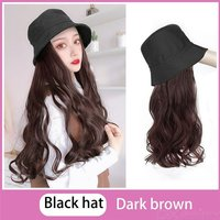 Elegant Summer Hat Wig Long Curly Wigs Fashionable Black Bucket Hat With Lifelike Synthetic Hair Attached For Women