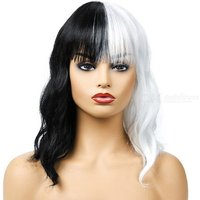 Short Wigs For Halloween Cosplay Women Kinky Straight Synthetic Hair Wig Black White 2 Tones Patchwork