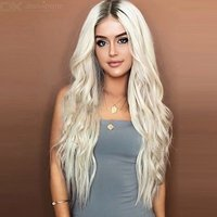 Long Wavy Synthetic Lace Wig Platinum Heat Resistant Fiber Hair Wigs For Women