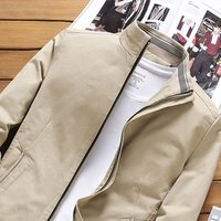 Male Slim Stand Collar Jacket Casual All-match Mens Solid Color Coat