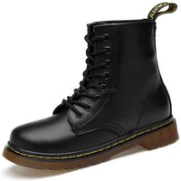 Classic PU Leather Martin Boots Vintage Mid-Calf Boots Couple Winter Lace-Up Shoes For Men Women