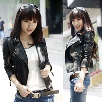 Women Zipper PU Leather Jacket Casual Short Outwear For Spring Autumn