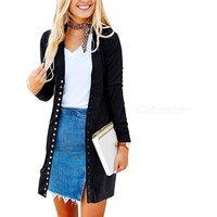 Fashion Casual Womens Solid Color Coat Long Sleeve Cardigan Jacket