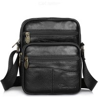 Casual Leather Messenger Bag Solid Color Business Shoulder Bag