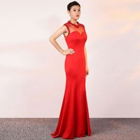 Hollow See-Through Mesh Sexy Fishtail Lady Maxi Dress for Evening Party