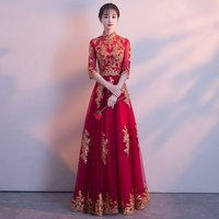 Womens Traditional Chinese Wedding Gown Cheongsam Bride Toast Clothing Elegant Slim Oriental Style Dresses
