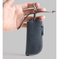 Small Soft Leather Zipper Car Key Holder Bag Coin Purse