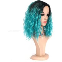 Ombre Black Blue Curly Synthetic Wigs 14 Inch Long Water Wave False Hair For Women