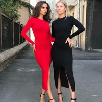 Women's Midi Dress Spring Summer Sexy Slim-fit Bodycon Pencil Dress Long Sleeve Round Neck Split Dress With Hollow-out Back