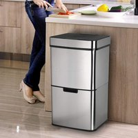 LENTIA SD-802 62L Trash Can Dual Compartment Stainless Steel Waste Container With 3L Kitchen Waste Can
