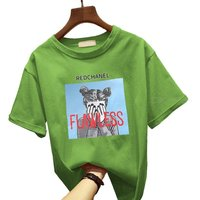 Summer Loose Short-sleeve T-shirt Casual O-neck Tops For Young Girls