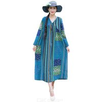 Women's Maxi Dress Cover Ups Spring Ethnic Style Cotton Linen Baggy Long Sleeve V-neck Printed Dress For Beach Holiday Travel