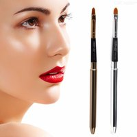 MAANGE Collapsible Lip Makeup Brush Pen, Metal Handle Cosmetic Lipgloss Lipstick Lip Gloss Brush With Protective Cap