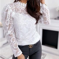 Womens Sexy See-Through Lace Long Puff Sleeve Blouse Tops Casual Fashion Spring Clothing