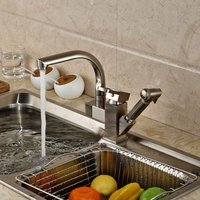 Kitchen Faucet, Single Handle One Hole Nickel Brushed Pull-out / Pull-down Water Tap