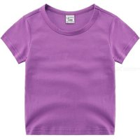 Summer Solid Color Kids Cotton T-Shirt Round Neck Short Sleeve T-Shirt Top Tee For Children Girls Boys 3-9 Years Old