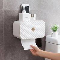 Toilet Roll Holder Punching Free Waterprrof Toilet Paper Box Holder With Garbage Bag Storage For Bathroom Kitchen Living Room