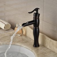 Special price Antique Centerset Waterfall Ceramic Valve Single Handle One Hole Oil-rubbed Bronze, Bathroom Sink Faucet