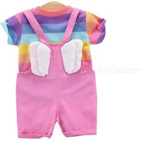 Baby Girl Short Sleeve Suspenders Shorts Outfit Set Rainbow T-shirt Solid Jumpsuit With Wings