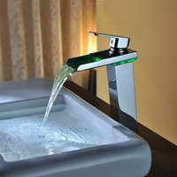 Bathroom Sink Faucet, Waterfall / Color-Changing Chrome Vessel Single Handle One Hole Bath Taps / Brass