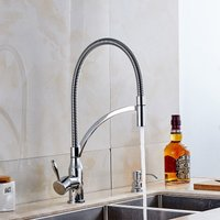 F-0726C1 Kitchen Faucet, Brass Single Handle One Hole Chrome Pull-out / Pull-down Water Tap