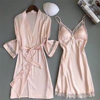 Women's Nightdress Dressing Gown 2-Piece Set Silk Satin Spaghetti Strap Sleep Dress Kimono Robe Set Summer Nightwear Pajamas