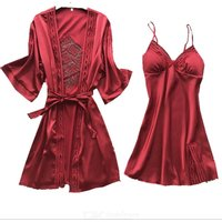 Women's Nightdress Dressing Gown 2-Piece Set Silk Satin Spaghetti Strap Sleep Dress Kimono Robe Set Sexy Nightwear Pajamas