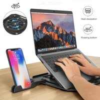 Laptop Stand Height Adjustable Cooling Ventilated Laptop Riser Holder Foldable Portable Notebook Mount with Cell Phone Holder