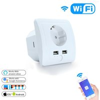 Smart WiFi In-Wall Outlet With 2 USB Ports Charger Compatible With Alexa Google Assistance, No Hub Required, EU Socket