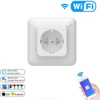 Smart WiFi In-Wall Outlet Works With Alexa Google Assistant APP Remote Control Smart Wall Outlet With Timer Function, EU Socket