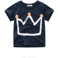 Cotton T-Shirt Summer Fashionable Crown Printed Short Sleeve T-Shirt Top For Boys Kids Aged 1-8