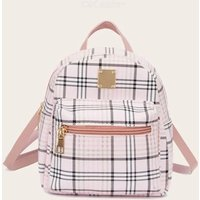 Pocket Front Plaid Backpack One-shoulder Messenger Bag PU Leather Small Backpack With Adustable Strap