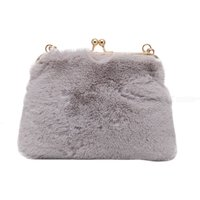 Clip Top Fluffy Clutch Bag Plush Handbag Chain Diagonal Bag For Women