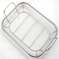 Stainless Steel BBQ Grill Basket Barbecue Mesh Grilling Basket Home Stainless Steel Barbecue Basket